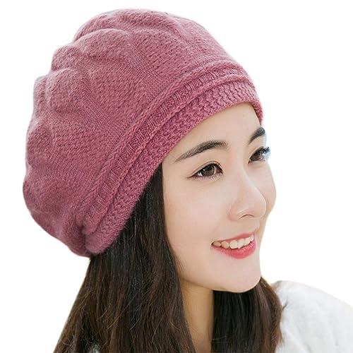 Gorro de invierno, RETUROM Nuevo estilo mujeres Beret Trenzado Baggy Knit Crochet Beanie Hats Gorra de esquí