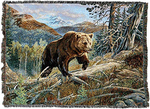 Pure Country Weavers - Brown Bear Over The Top Woven Tapestry Throw Blanket Cotton with Fringe Cotton USA 72x54
