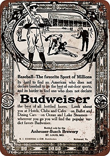 1910 Budweiser Beer & Baseball Reproduction Metal Sign tin 8 x ()