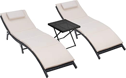 Homall 3 Pieces Outdoor Lounge Chair Patio Chaise Lounge Sets PE Rattan Lounge Chair with Folding Table and Beige Cushion