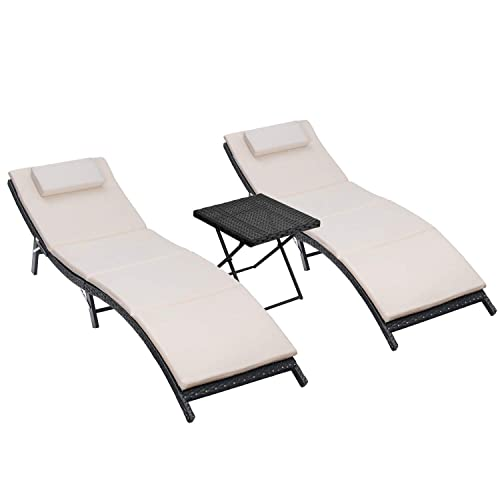 Homall 3 Pieces Outdoor Lounge Chair Patio Chaise Lounge Sets PE Rattan Lounge Chair