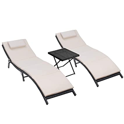 0ba68c203ad Amazon.com  Homall 3 Pieces Patio Chaise Lounge Sets Outdoor PE Rattan Lounge  Chair Portable and Folding Furniture Set with Table and Cushion  Garden    ...