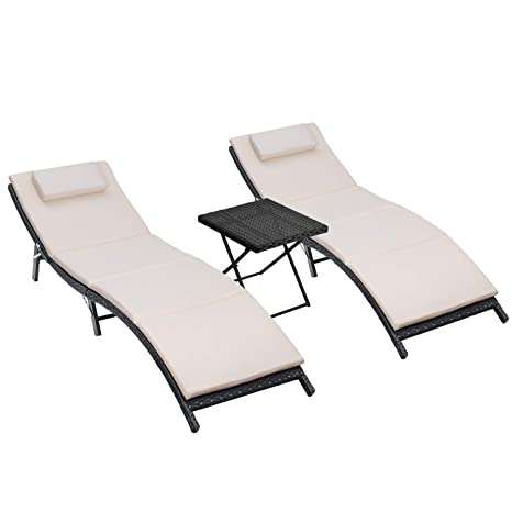 Phenomenal Homall 3 Pieces Outdoor Lounge Chair Patio Chaise Lounge Sets Pe Rattan Lounge Chair With Folding Table And Beige Cushion Pabps2019 Chair Design Images Pabps2019Com