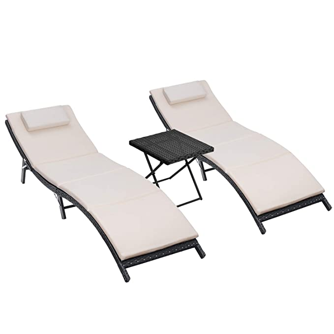 a4692f70f7c2 KingCamp Patio Lounge Chair Chaise Bed 3 Adjustable Reclining Positions  Steel Frame 600D Oxford Folding Camping ...