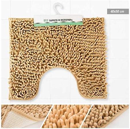 Tappeto per WC o Bidet Marrone in Microfibra 40x50cm con Frange GIRM HX925592