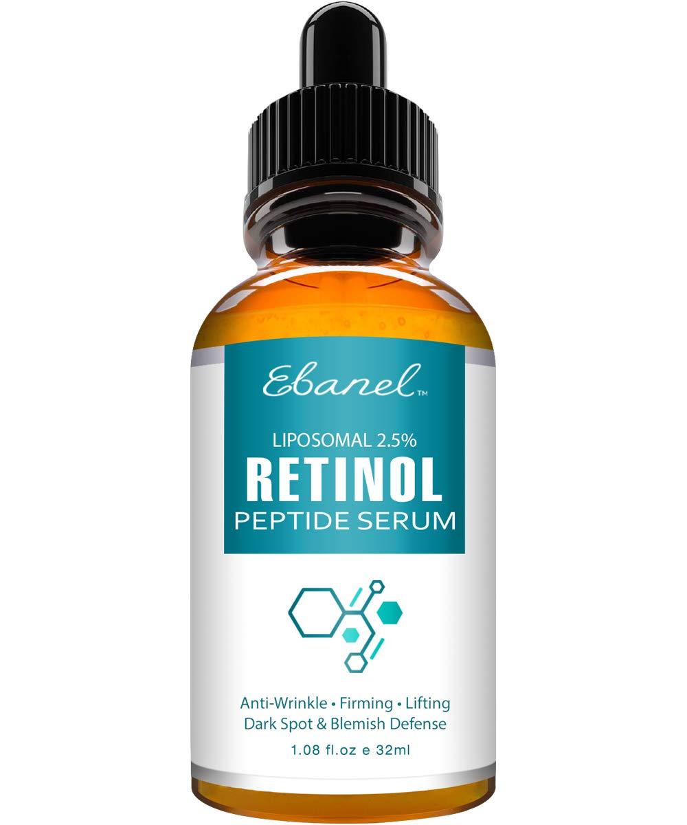 Ebanel Retinol Serum 2.5% with Hyaluronic Acid & Peptides - Anti Aging Serum Anti Wrinkle Eye Serum with Aloe, Witch Hazel, Vitamin C & E, Rapid Wrinkle Repair Night Serum Collagen Peptides Serum