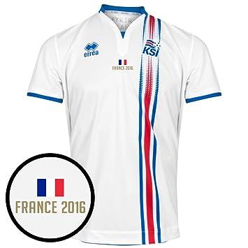 Errea Islandia Incl Camiseta de fútbol Francia 2016 Transferencia, Unisex, Blanco, Small