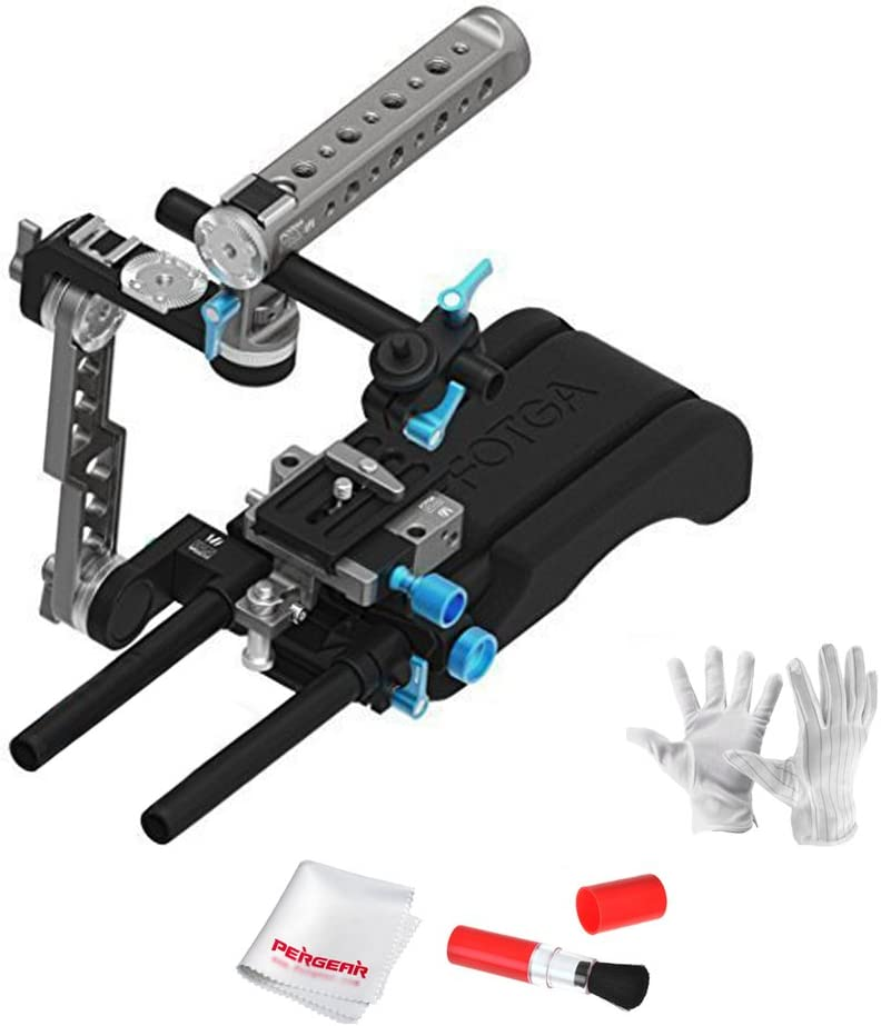 Fotga DP500III Transformable Handle C Cage Kit with 15mm Rod Quick Release Plate and Shoulder Pad for Blackmagic BMCC BMPCC 5DII III A7 A7S A7R2 A7RM2 GH3 GH4 7D D7000 D7100 D750 D800 DSLR