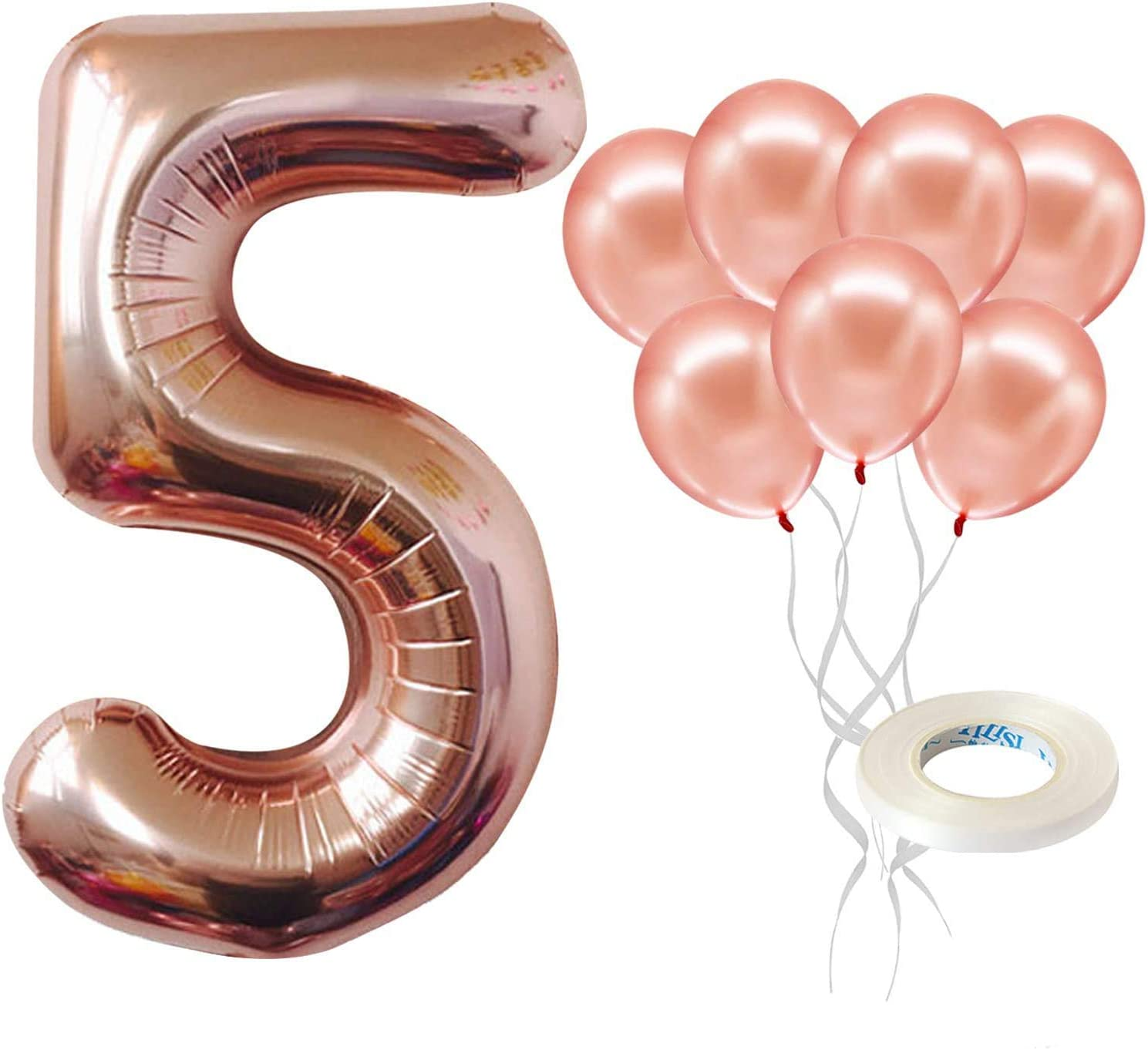 Small 13.5 Balloon Anniversary Birthday balloon Alphabet or Number Foil Balloon SEVEN Rose Gold Number 7 Balloons