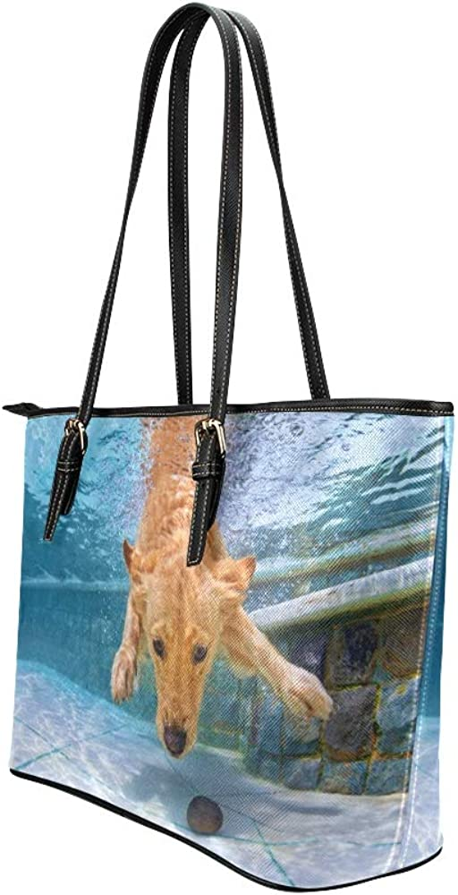 Traveling Bag For Women Interesting Underwater Swimming Dogs Leather Hand Totes Bag Causal Handbags Zipped Shoulder Organizer For Lady Girls Womens Tote Handbags For Women
