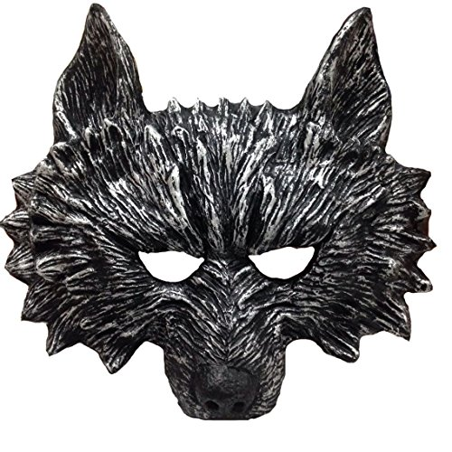 Himine Halloween Black Teeth Gray Wolf's Head Mask -