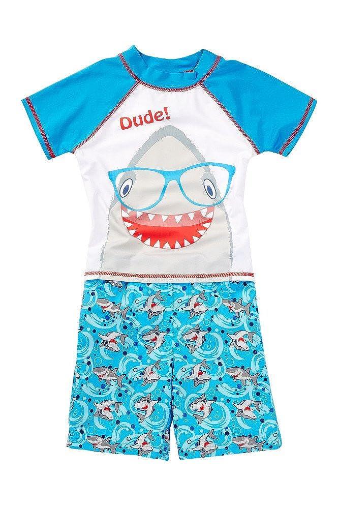 Baby Buns Little Boys Shark Rash Guard & Swim Trunk Set