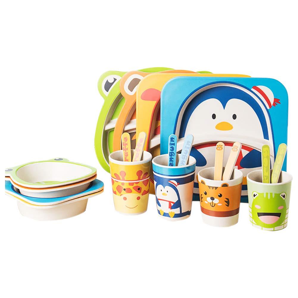 Remelon Child Dinnerware Set Bamboo 5 Piece Toddler Dinnerware Non