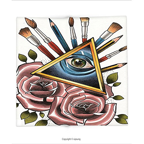 Custom printed Throw Blanket with Trippy Art Decor Geometric Triangles Roses Pens and Brushes Link of Universe Art Nature Graphic Inches Multi Super soft and Cozy Fleece Blanket