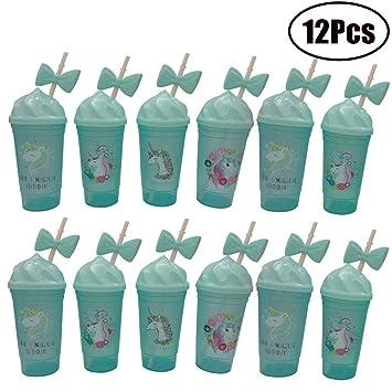 Amazon.com: FEOOWV - Vasos de unicornio con tapa y pajitas ...