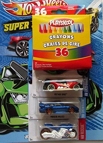 DBK Gifts Coloring Book Crayons 3 Hot Wheel Cars