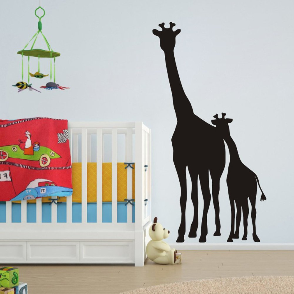 FlyWallD Large African Safari Giraffe Wall Decal Removable Vinyl Art Zoo Kids Room Animal Living Room Sticker Nursery Mom and Baby Giraffe Decor