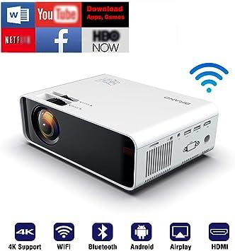 SOTEFE® WiFi Proyectores Portátil-Bluetooth Videoproyector 1080P Full HD Proyector Soporte 4K Descargar App Vídeo Película En línea Teatro para Smartphone TV-Box HDMI USB TF/SD Tarjeta VGA AV Audio: Amazon.es: Electrónica