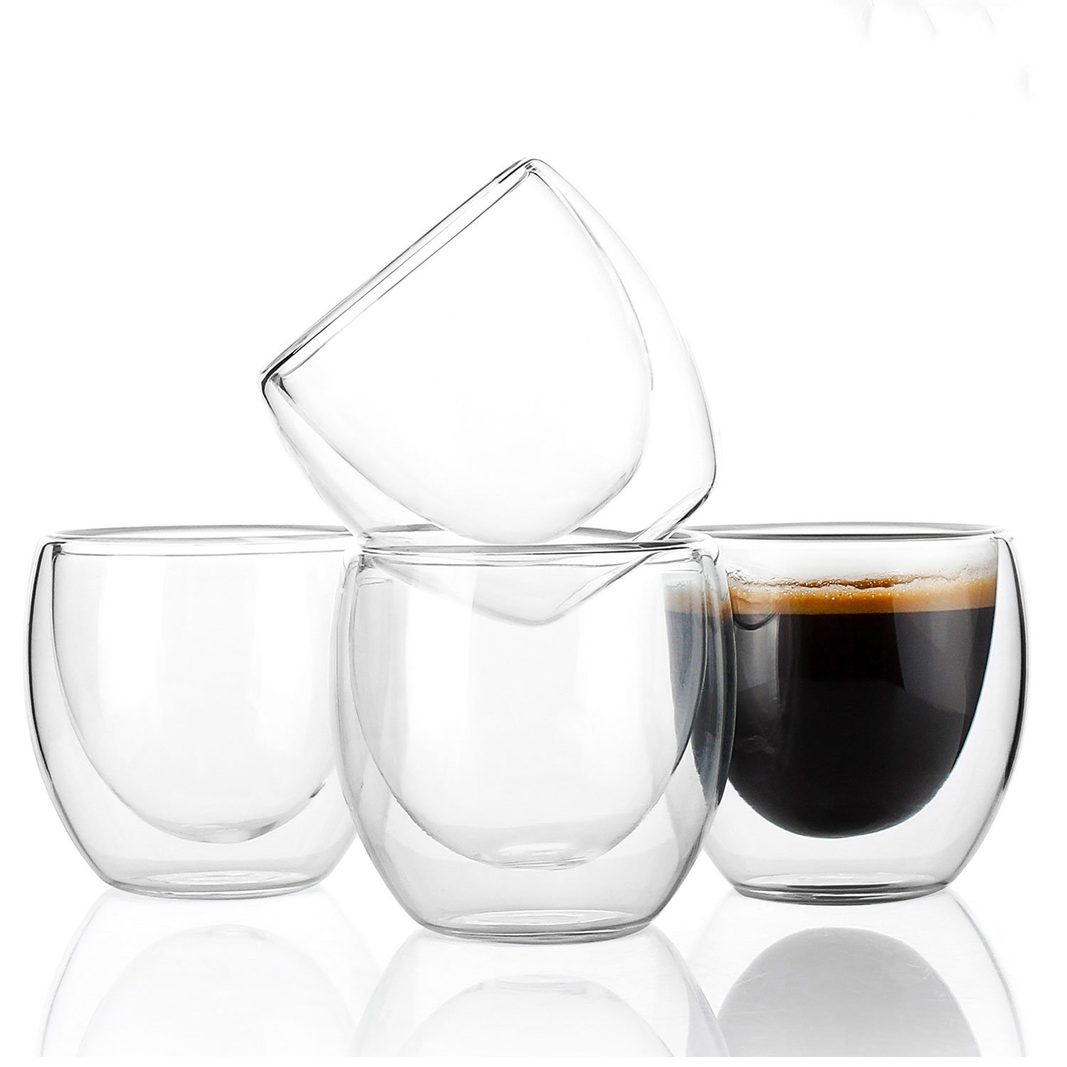 Sweese 4603 Glass Espresso Cups - Double Wall Insulated Glasses without Handles - 3.4 Ounces, Set of 4