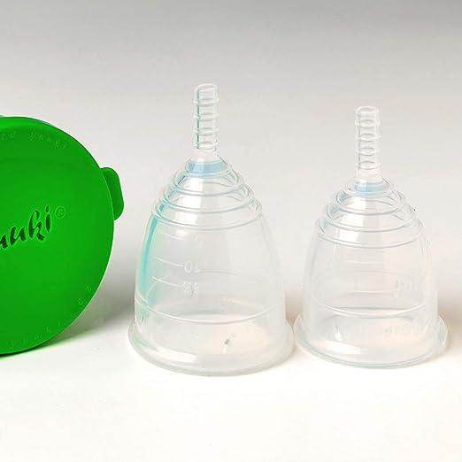 Taza Menstrual Juego de Yuuki Soft pequeña y grande con taza como un contenedor para la limpieza en el microondas – sin BPA – Silicona transparente – ...