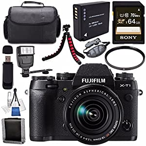 Fujifilm X-T1 Mirrorless Digital Camera with 18-55mm Lens 16421555 + NP-W126 Lithium Ion Battery + Sony 64GB SDXC Card + Carrying Case + Flexible Tripod + Flash + Memory Card Wallet Bundle