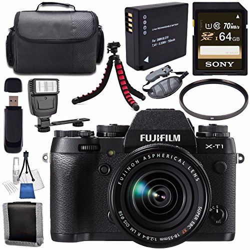 Fujifilm X-T1 Mirrorless Digital Camera with 18-55mm Lens 16421555 + NP-W126 Lithium Ion Battery + Sony 64GB SDXC Card + Carrying Case + Flexible Tripod + Flash + Memory Card Wallet Bundle