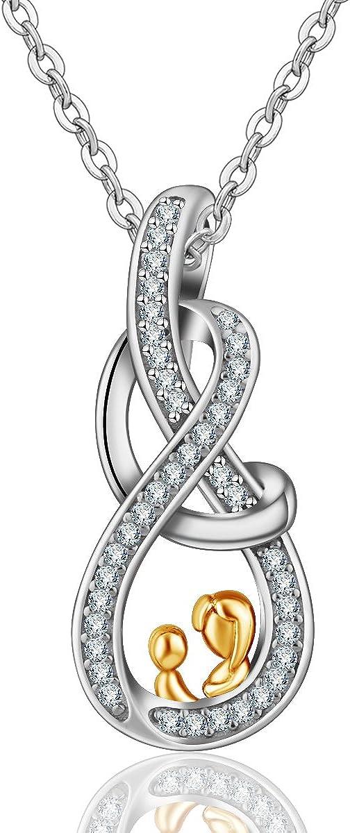 Geschenk f/ür Mama 925 Sterling Silber Mama Ich Liebe Dich Keltisch Knoten Hund Katze Pfotenabdr/ücke Anh/änger Halskette INFUSEU Frauen Schmuck for Mutter Gro/ßmutter mit 46 cm Rolo Kette