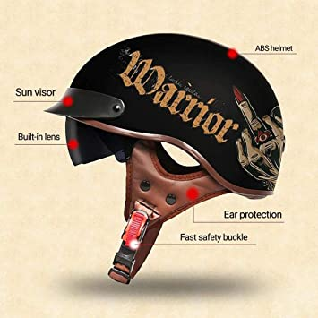 ZHXH Adult Kinderhut Motorrad Halbhelm Retro Erwachsenenhelm Motorrad Harley Sch/ädel Halbhelm DOT zertifizierte m/ännliche und weibliche dominante Art Fahrrad Roller Travel Street Halbhelm