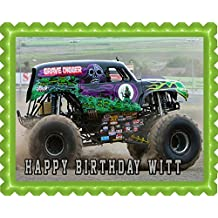 GRAVE DIGGER Monster Truck Edible Birthday Cake OR Cupcake Topper - 7.5 x 10' rectangular inches