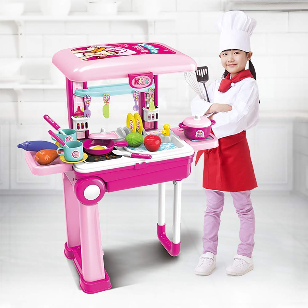 INCHOU Toy Chef 2-in-1 Travel Suitcase Kitchen Set for Children | 25 Pieces Includes Toy Pots, Pans, Dishes, Utensils & Foods ABS Plastic Pretend Play Kit for Boys & Girls Gifting