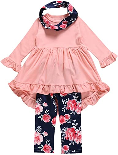 Hstore Baby Boys Girls Set Thanksgiving Day Tops+Striped Ruffled Pants Clothes HOT