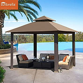 EliteShade 12×12 feet Sunbrella Titan Patio Outdoor Garden Backyard Gazebo Sunbrella Cocoa