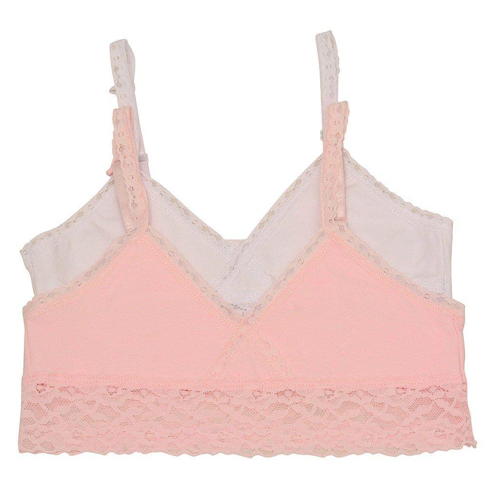 f5535c04a951e Amazon.com  Big Girls Light Pink White Lace Trim Soft Shiny 2 Pc Cami  Bralette Set 8-16  Clothing