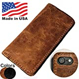 MADE in USA iPhone 8 Plus Folio Book Case | Genuine American Distressed Leather Wallet Book Case iPhone 7 Plus| 3 Credit Card Slots, ID / Bill Compartment, Best Screen Protection (Brown)
