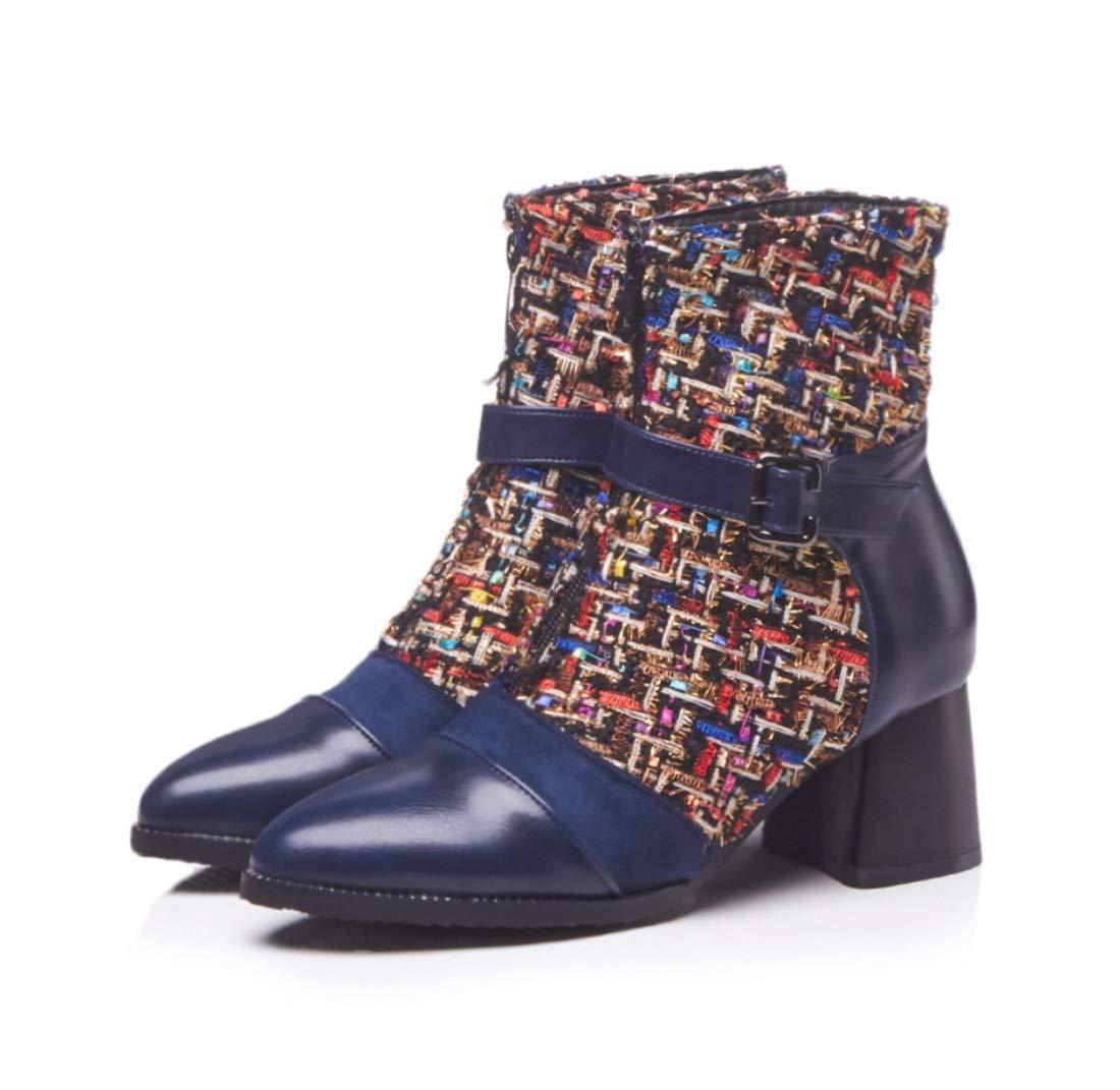 DANDANJIE Damen Stiefeletten 2018 Herbst Stiefel Schnalle Chunky Heel Spitzschuh Schuhe