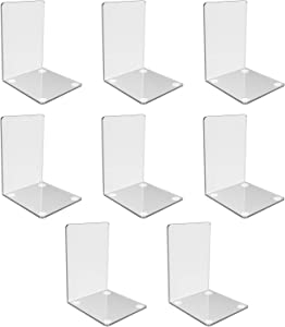 Clear Acrylic Bookends with Non-Slip Stickers, Bookends for Kids Shelves Bedroom Library Office School and L-Shaped Desktop Organizer Decoration Gift (8)