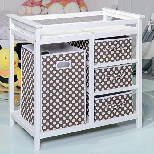 Costzon Baby Changing Table, Diaper Storage Nursery Station with Hamper and 3 Baskets (White+Brown) by Costzon (Image #5)