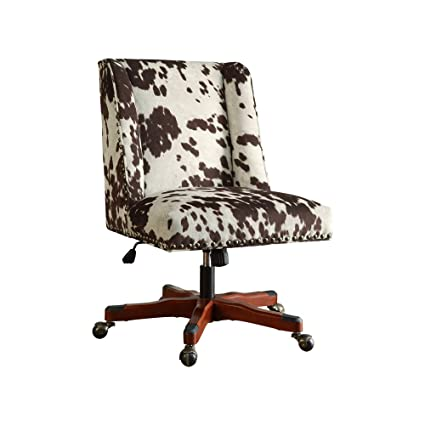 Amazon.com: Linon AMZN0245 Clayton Cow Print Office Chair, Brown: Kitchen U0026  Dining