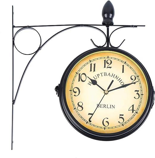 Iglobalbuy Reloj Estacion de Tren De Doble Cara Colgantes de Pared Reloj Instalación impermeable, interior y exterior(Negro): Amazon.es: Jardín