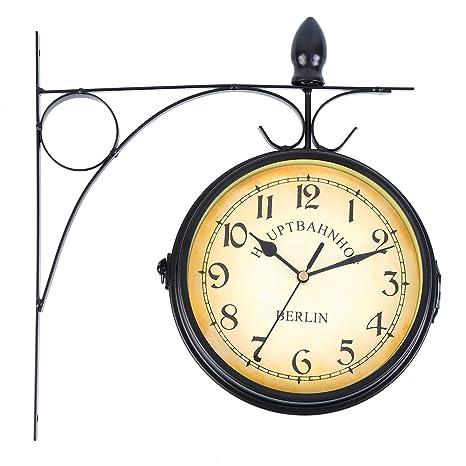 Soporte Montaje en Interior y Exterior para Doble cara Reloj de pared Estación de Tren Jardín