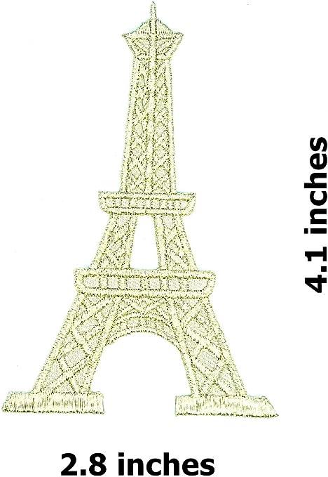 Parche de plata con diseño de la Torre Eiffel en París, hermosa ...