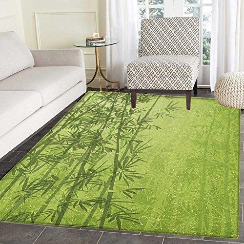 Exotic Area Rug Carpet Tropical Forest Rainforest Jungle Paradise Ecology Feng Shui Spa Customize door mats for home Mat 4'x6' Pistachio Green Fern Green