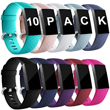 Zekapu pour Fitbit Charge 3 Bracelet, Classique Réglable Bracelet De Rechange avec Classique en Aluminium Boucle en Alliage Compatible pour Fitbit ...