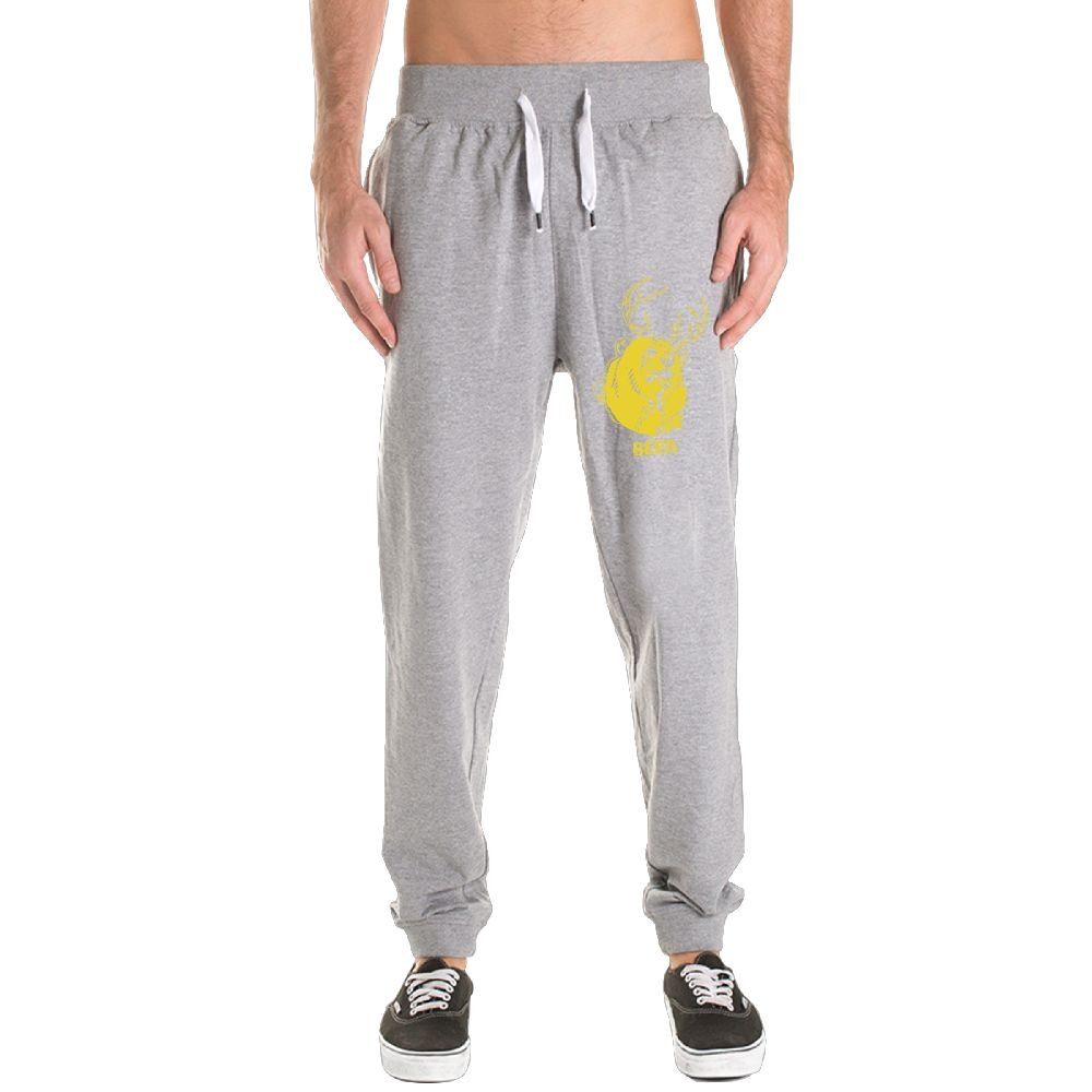 Xianjingshui Macâ€s Beer Bear Men's Jogger Sweatpants Drawstring Elastic Waist Outdoor Running Trousers Pants With Pockets by Xianjingshui