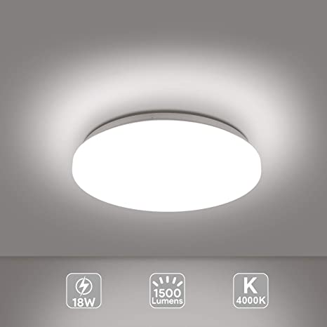 EISFEU LED 18W Lámpara de Techo, Reemplaza 100W Bombillas Incandescentes, Súper Fácil de Instalar, Ø 280mm Blanco Natural 4000K [Clase de eficiencia ...