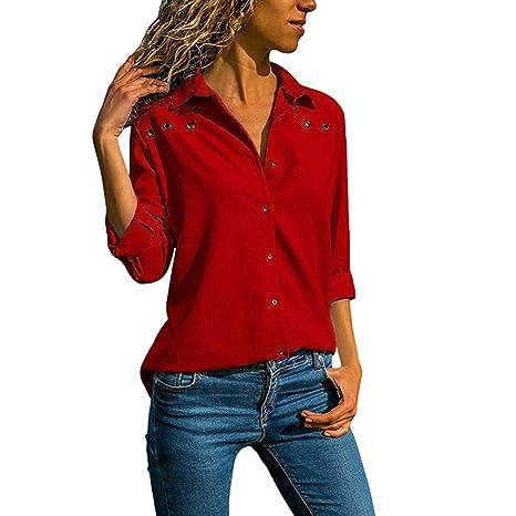 JiaMeng Mujer Camiseta, Mujeres Cuello en V Botšn de Color Puro Manga Larga Tallas Grandes Blusa Suelta y Moda Manga Larga Sexy Mujer: Amazon.es: Ropa y ...
