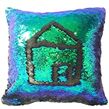 Sleepwish Two Tones Reversible Sequin Mermaid Pillow Cases Glitter Cushion Cover Sparkling Throw Pillow Case (Blue,Green and Purple)