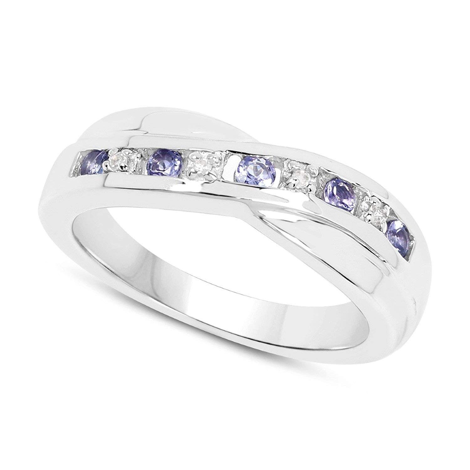 cf4b4a504 The Diamond Ring Collection: 9ct White Gold Tanzanite & Diamond Channel Set  Crossover Eternity Ring, Mother's Day, Anniversary Gift, Ring Size  H,I,J,K,L,M,N ...