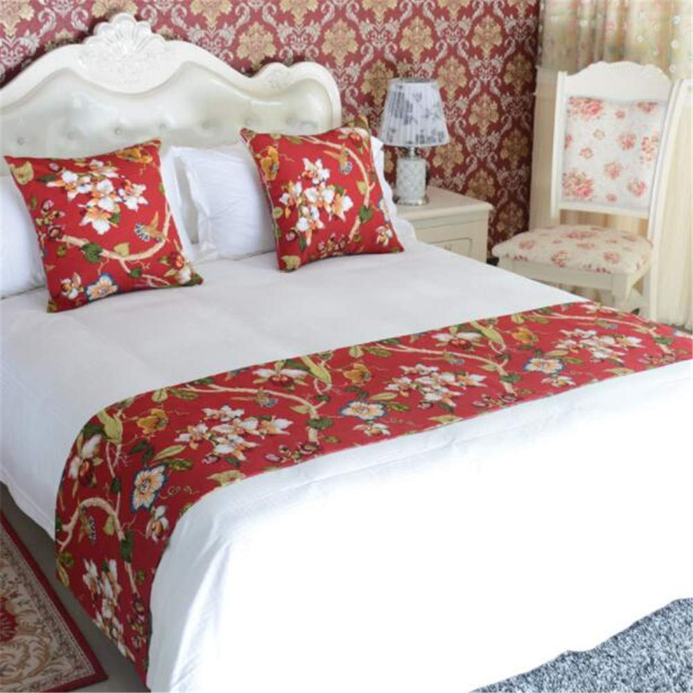 YIH Hotel Bed Runner Scarf Red Floral King Size, Bedding Scarf Pad Decorative Bed Protector Slip Cover for Pets 102'' x 19''