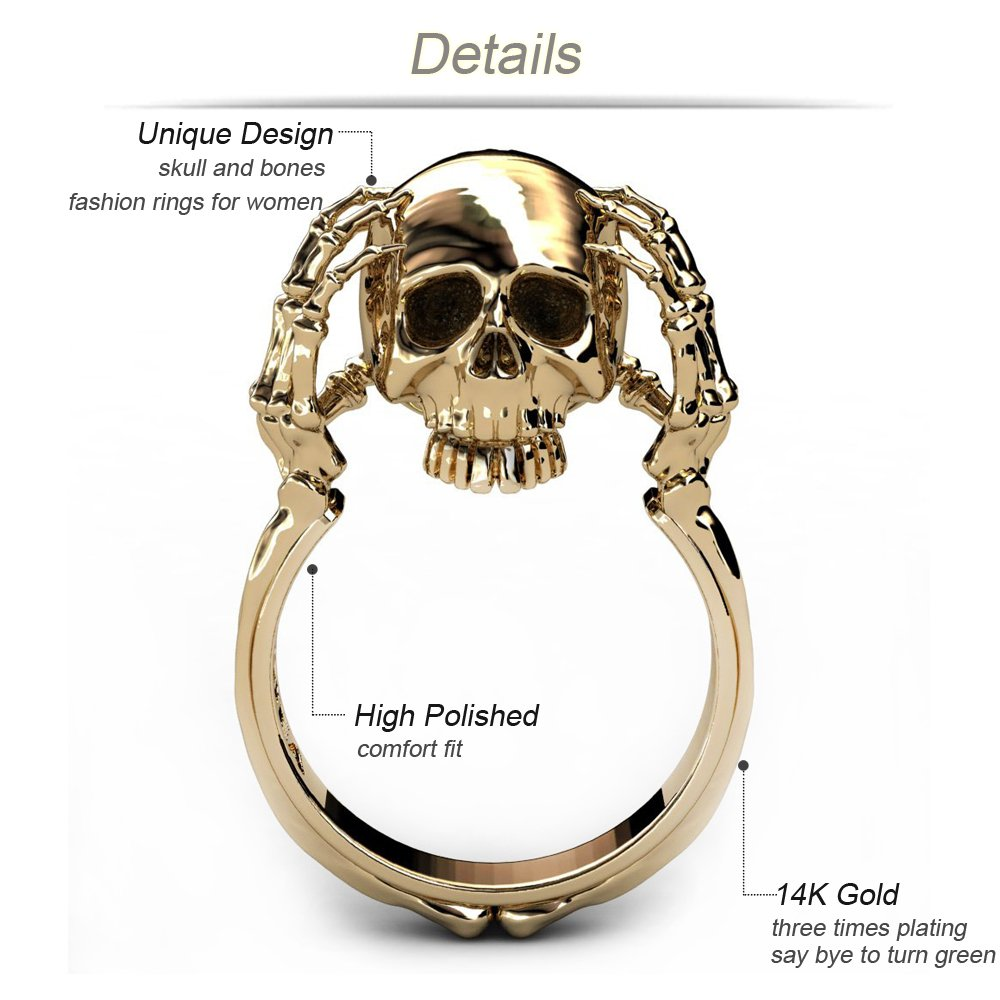 heart skull spades ring rings skeleton hand
